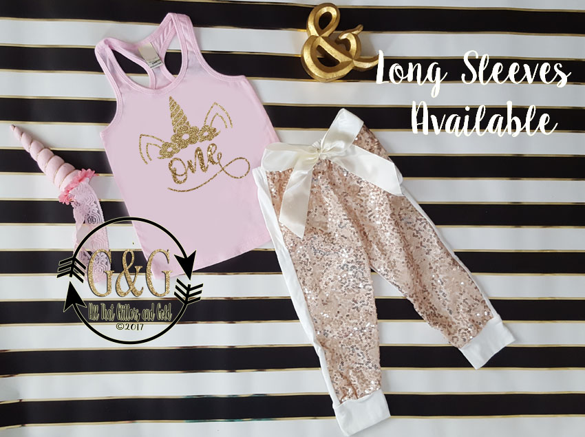 Cute Pink And Gold Glitter Unicorn Sequin Birthday Pants