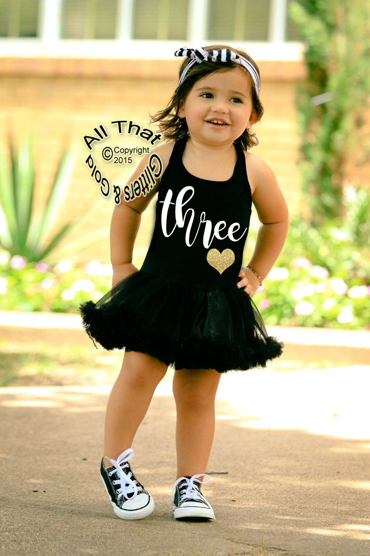 Cute 3rd Birthday Dresses  Black and White Three Glitter