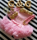 Gold and Pink First Birthday Outfit