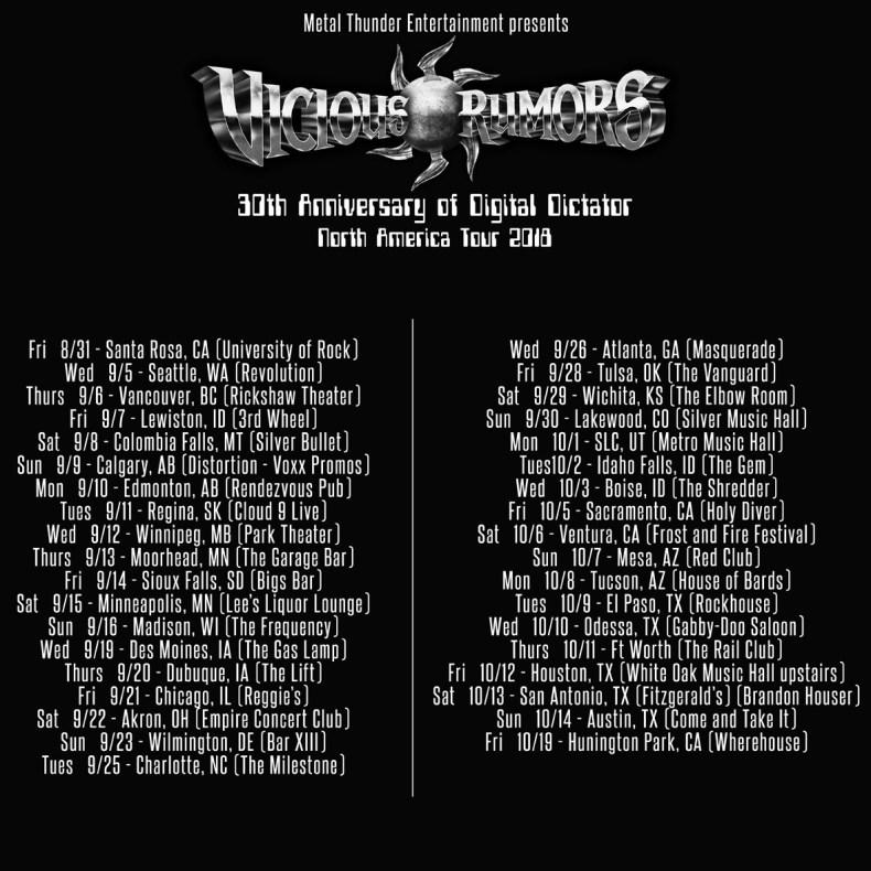 "Vicious Rumors Announce ""Digital Dictator - 30th Anniversary US Tour Dates"