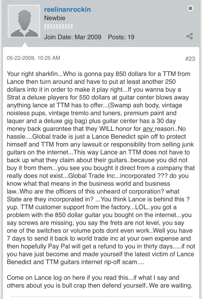 TTM Guitars: Fraud, Bankruptcy, Is Lance Benedict Repeating His Troubled Past?