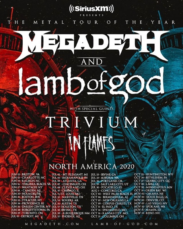 Megadeth + Lamb Of God Announce 2020 North American Tour; Trivium & In Flames To Open