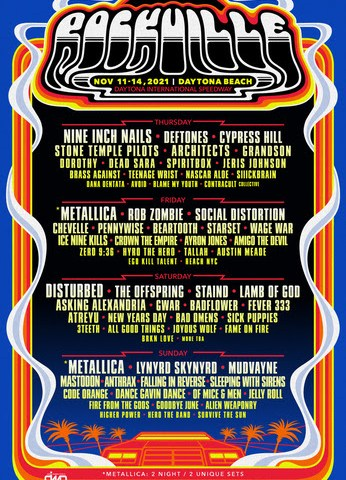 Welcome To Rockville Returns In 2021 With Metallica, Nine Inch Nails, Disturbed, Lamb Of God, & More, November 11-14 At Daytona International Speedway