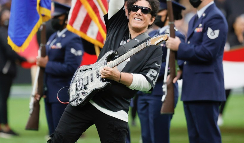 """Neal Schon Performs Star Spangled Banner"""" Performance At Las Vegas Raiders Vs Chicago Bears NFL Game"""
