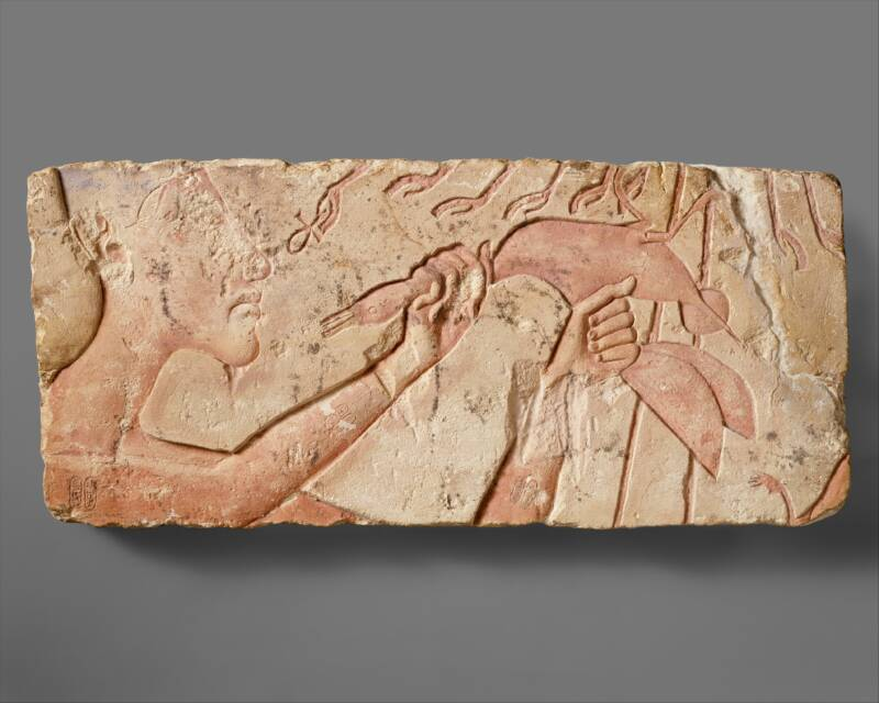 Akhenaten Sacrificing A Duck