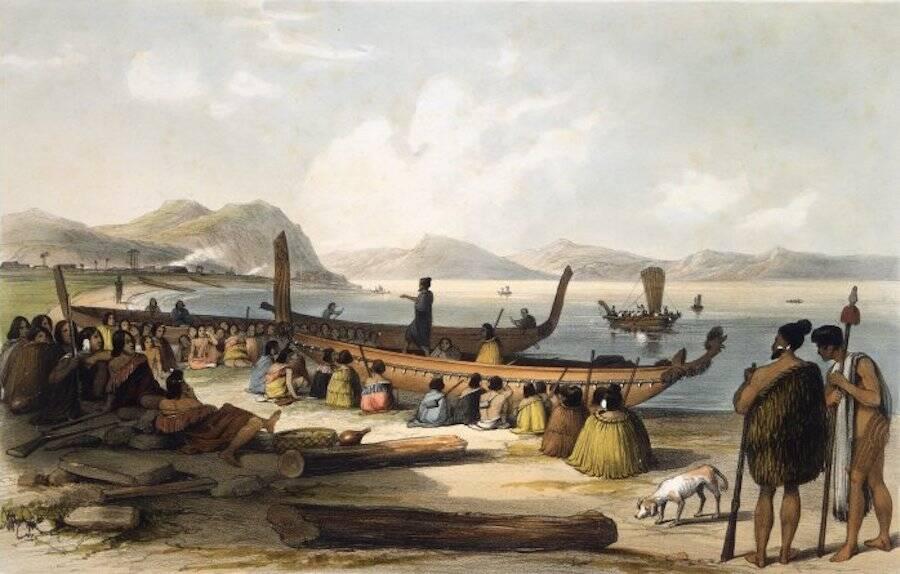 Maori People And Ships