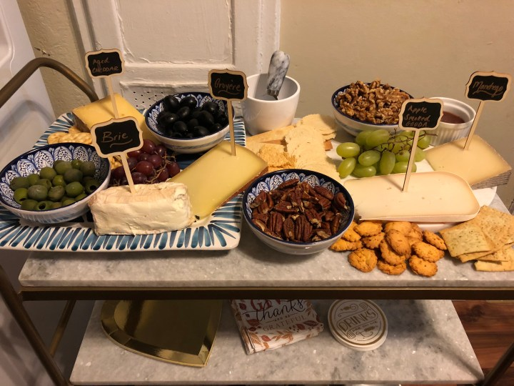 Gold and marble bar cart made cheese board for Friendsgiving appetizers