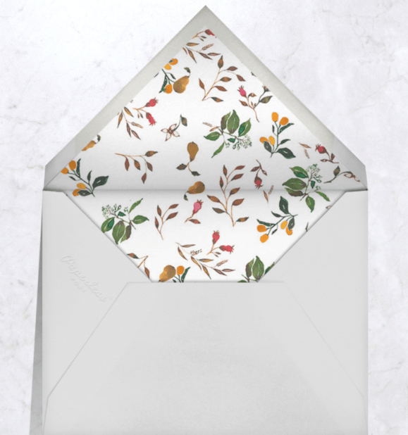 Digital white envelope liner with seasonal foliage