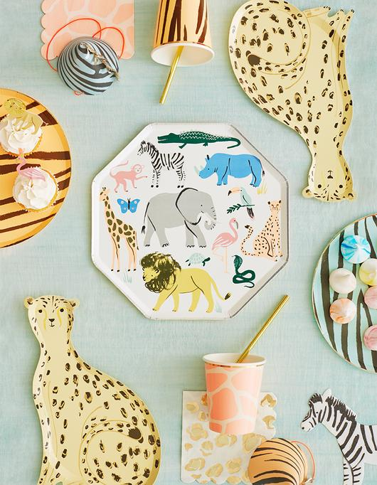 Meri Meri is one of my most loved sites for party supplies. Pictured: Zoo animal themed plate, cup and napkin set