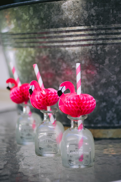 Mini Patron Silver Bottles with Pink Flamingo Drink Straws
