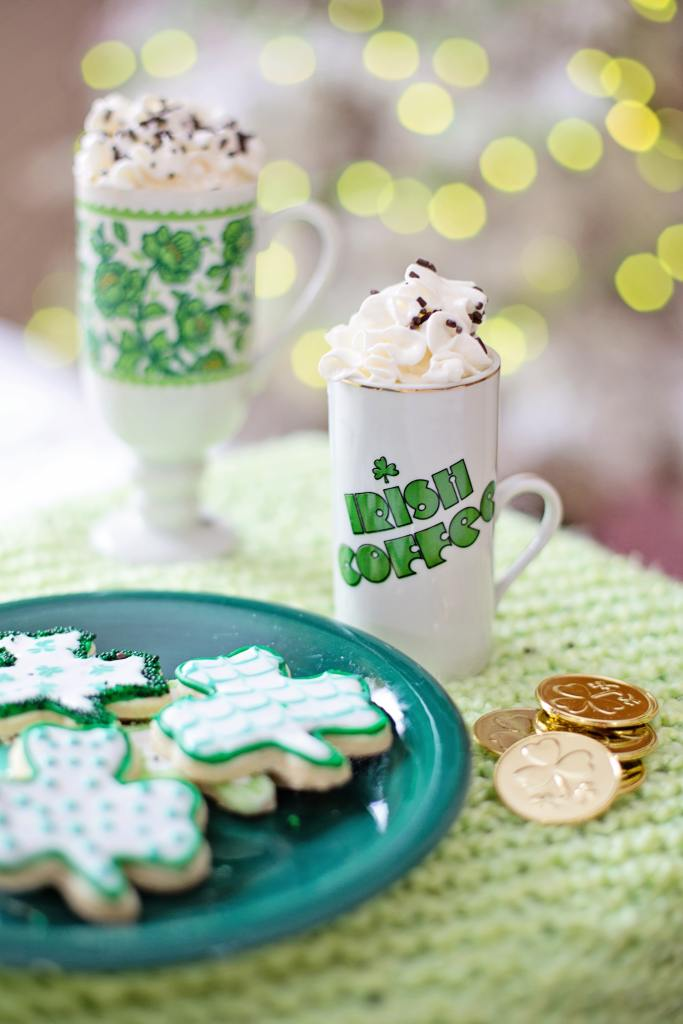 St. Patrick's Day dessert and Irish coffee