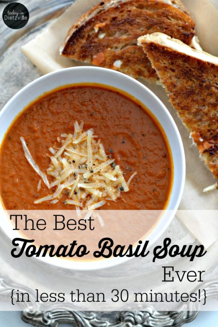 The Best Tomato Basil Soup Ever   With healing bone broth, heavy cream, and fresh basil, this is THE best tomato basil soup ever! And you can make this simple soup in less than 30 minutes.   AllTheNourishingThings.com