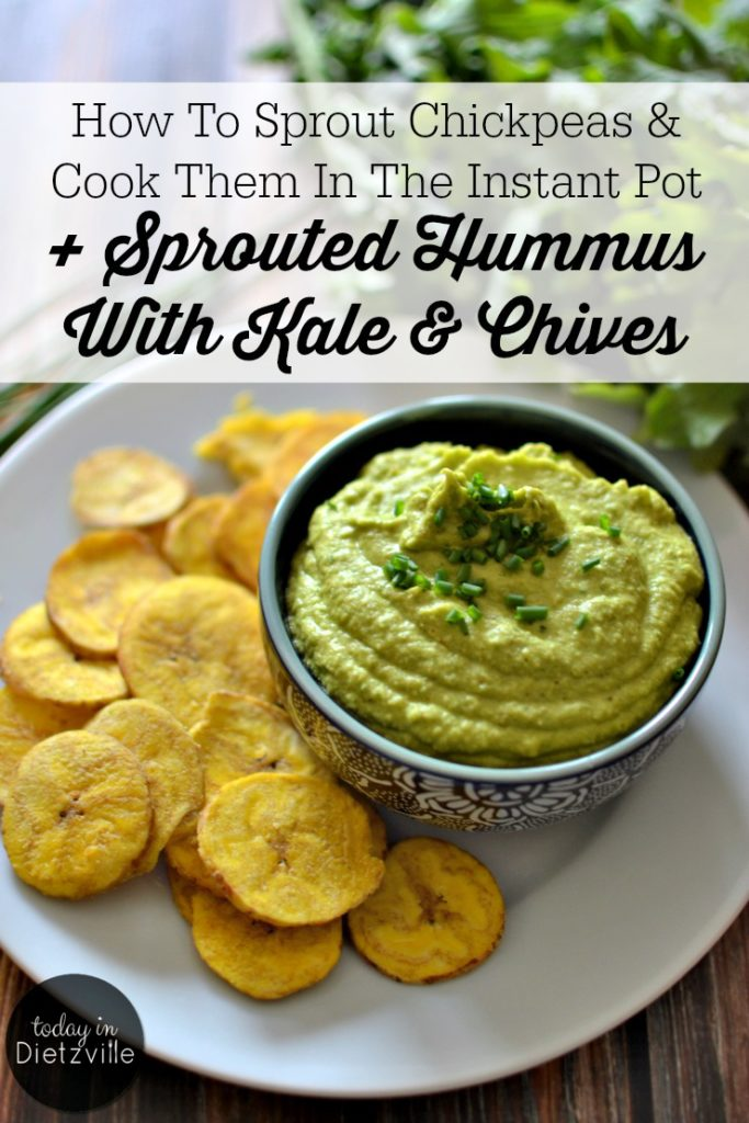 How To Sprout Chickpeas & Cook Them In The Instant Pot + Sprouted Hummus With Kale & Chives | To buy kale hummus at my health food store, I had to shell out $1 per ounce! Or, I could make it myself, at home. Sprouted chickpeas take this hummus up a notch and make it nourishing and super digestible. The addition of steamed kale and fresh chives gives this sprouted hummus a powerful punch of greens for the perfect appetizer or snack! | AllTheNourishingThings.com