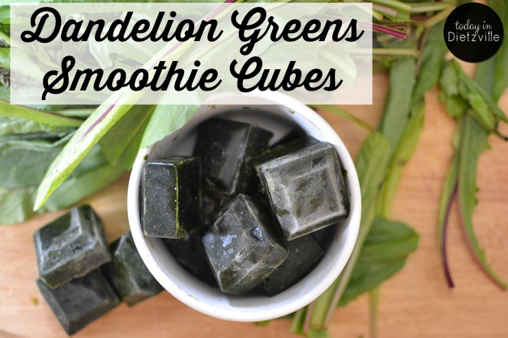 Dandelion Greens Smoothie Cubes | If given the choice between a brownie and a raw kale salad, the brownie wins every.single.time. So I'm always looking for quick and easy ways to get my greens in -- like these raw Dandelion Greens Smoothie Cubes. Just pop one in your smoothie and you're helping your liver detox and giving your body lots of good chlorophyll! | AllTheNourishingThings.com