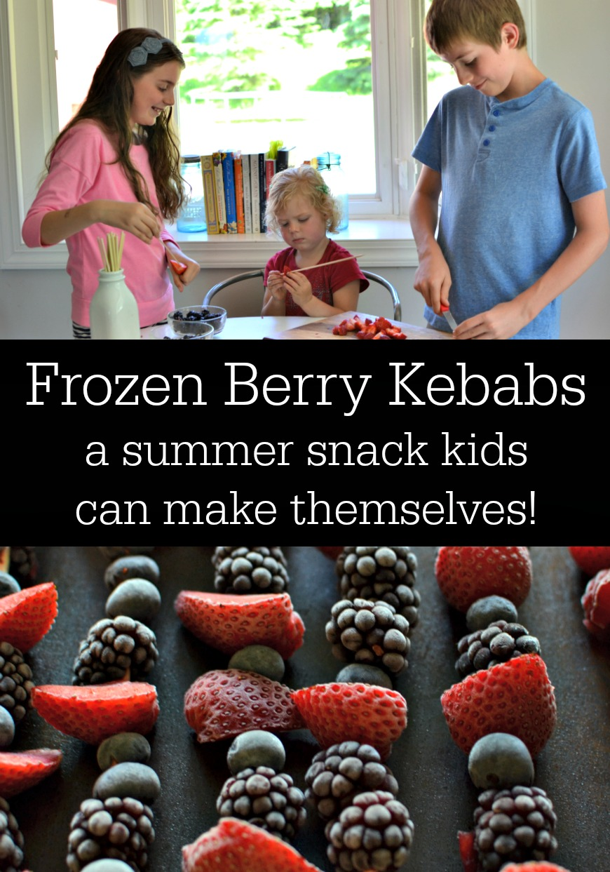 Frozen Berry Kebabs | This is boredom-busting activity + snack-making in one cute package. All I had to do was stand back and snap some photos so you guys could see that kids of all ages and skill levels can have a blast creating their own summer snacks! | AllTheNourishingThings.com
