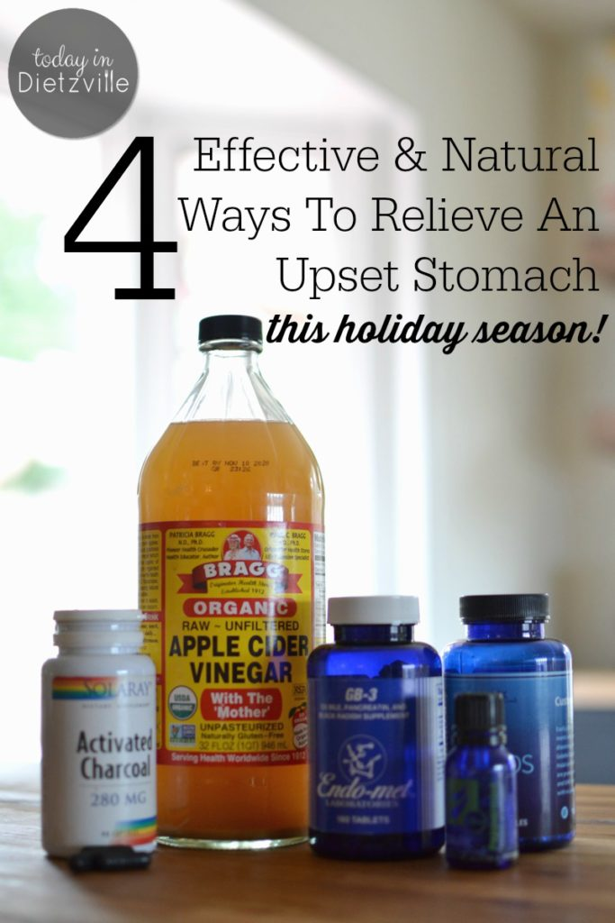 ust in case the holiday buffet table + pie overload + your favorite relatives = indigestion, heartburn, gas, bloating, or a stomachache, here are 4 effective ways to get relief quickly and naturally! These include peppermint essential oil (topically and/or internally), raw apple cider vinegar, digestive enzymes, and activated charcoal in case of food poisoning.