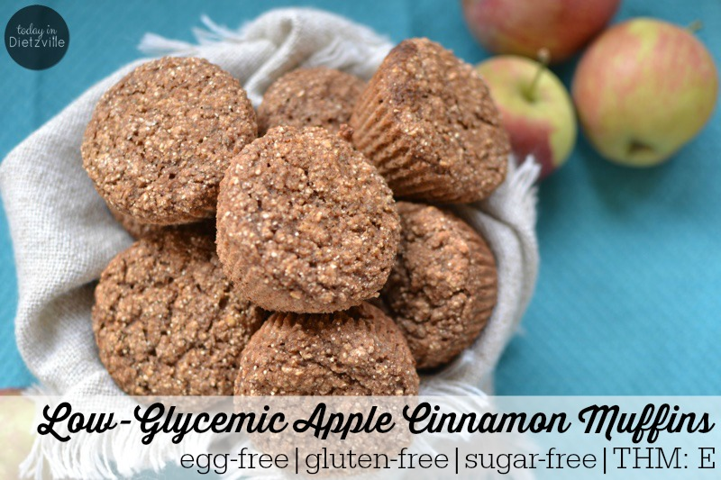 Low-Glycemic Apple Cinnamon Muffins {egg-free | gluten-free | sugar-free | THM:E} | Bake up a batch (or 2!) of these healthy, allergy-friendly muffins and you're set for after school snacking, school lunches, and school morning breakfasts for the week! They're gluten-free, egg-free, sugar-free, and Trim Healthy Mama-friendly! | AllTheNourishingThings.com