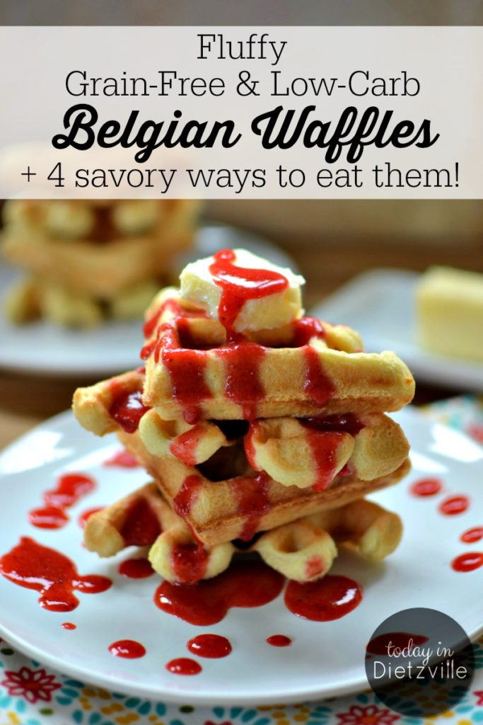 Fluffy Grain-Free & Low-Carb Belgian Waffles | These grain-free, low-carb Belgian waffles are truly versatile and can serve both sweet and savory purposes. They seamlessly make the transition from Sunday morning with maple syrup to weekday dinner with pizza toppings or taco fixin's! | AllTheNourishingThings.com