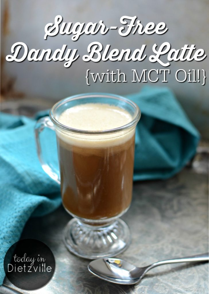 "Sugar-Free Dandy Blend Latte {with MCT Oil!} | Dandy Blend, an herbal coffee substitute, is full of liver-loving dandelion root and chicory, yet has no caffeine or acidity. By adding collagen, maca powder, and healthy fats, and then blending, I'm left with a dairy-free, sugar-free ""latte"" that's delicious and has no ill side effects! 