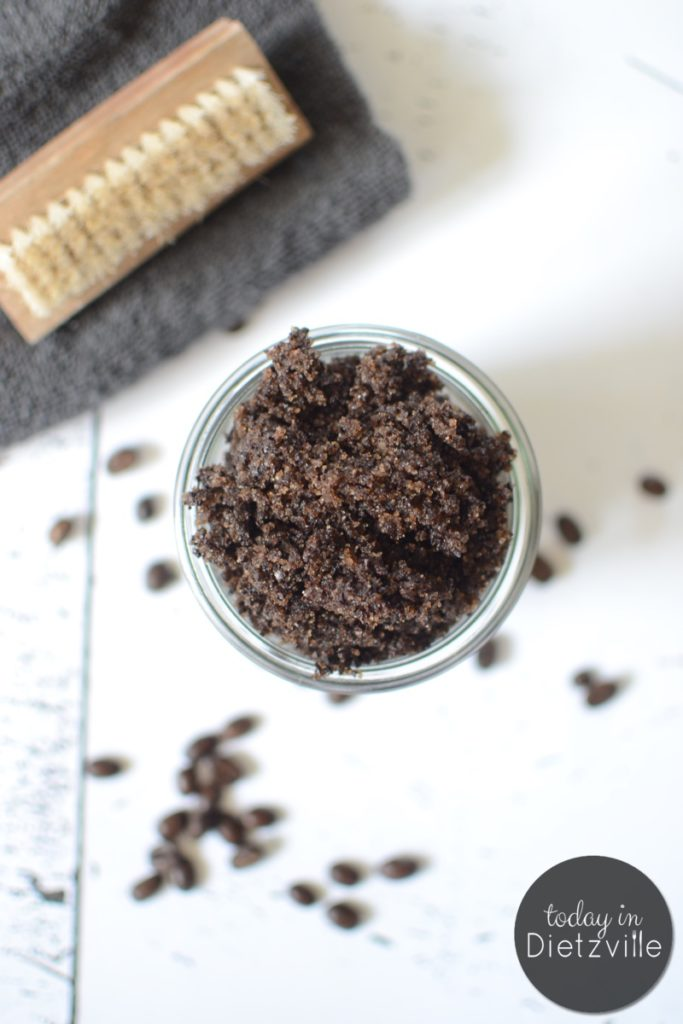 Vanilla Coffee Sugar Scrub | A good use for sugar and coffee that won't cause the jitters or a blood sugar crash? An exfoliating body scrub that gives cellulite a temporary boot. Oh, and you'll come out of the shower smelling pretty fantastic too! | AllTheNourishingThings.com