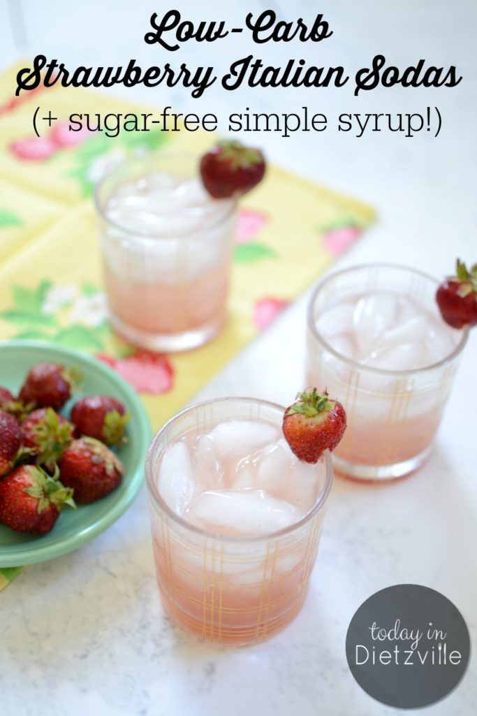 Low-Carb Strawberry Italian Sodas (+ sugar-free simple syrup!) | These bubbly drinks are summer's bounty in a glass! And with a sugar-free simple syrup, they have just 2g carbs per serving! Perfect for keeping that blood sugar stable! Trim Healthy Mama-friendly, too! | AllTheNourishingThings.com