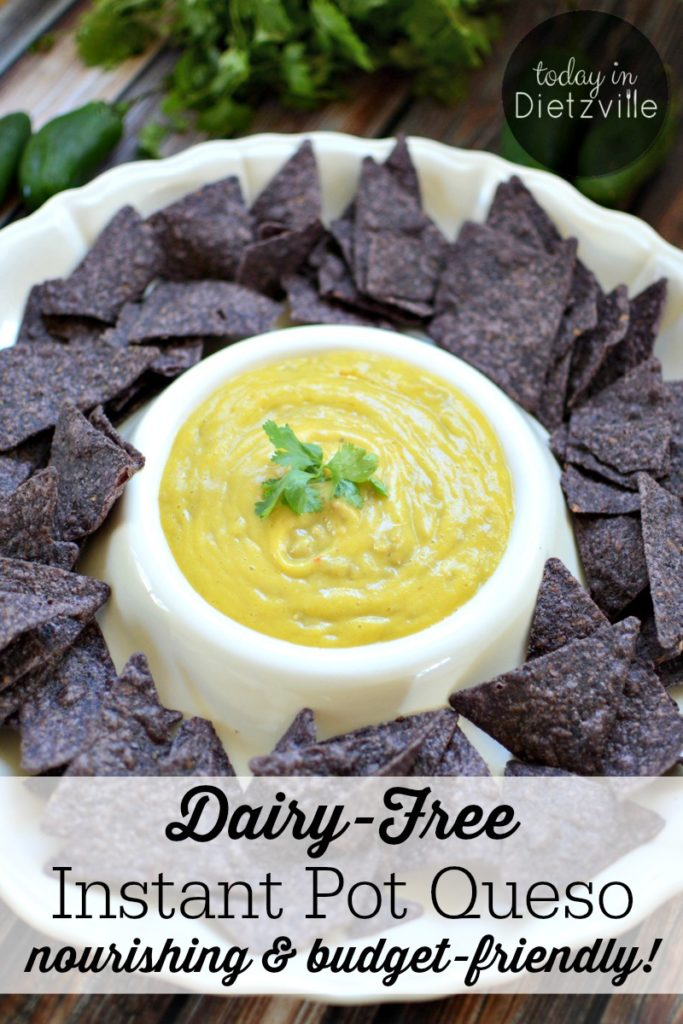 Dairy-Free Instant Pot Queso | I know my Texan food groups really, really well. And chips and queso are in a category all on their own! But what if you can't have dairy? Life's too short to live without queso! So, I created this Dairy-Free Instant Pot Queso that's super nourishing, allergy-friendly, and so budget-friendly! Even my kids said it tastes like the real thing! | AllTheNourishingThings.com