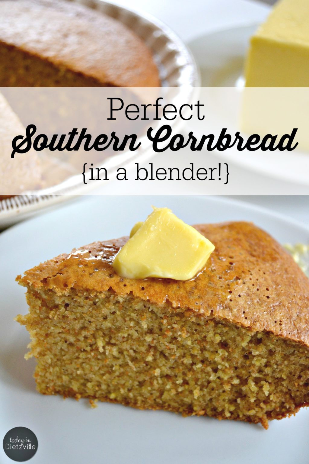 Perfect Southern Cornbread {in a blender!} | No Southern girl should leave home without it... A reliable recipe for good, homemade cornbread to serve with beans, chili, or even for breakfast. And if you're needing an easy, homemade cornbread for your Thanksgiving cornbread stuffing, here you go! | AllTheNourishingThings.com