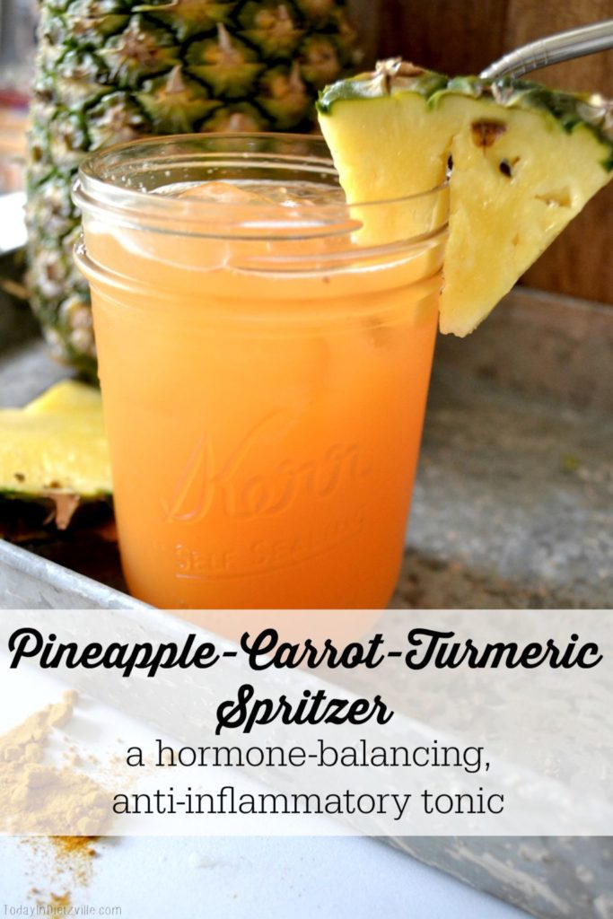 "Pineapple-Carrot-Turmeric Spritzer (aka the BEST period drink ever!) | There are a handful of bloated, emotional, crampy, hormonal, eat-an-entire-bag-of-Oreos days that lead up to and include the first couple days of the blessed arrival of dear Aunt Flo. I call this the ""Best Period Drink Ever"" because it brings menstrual relief and balance like nothing else can!"