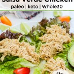 pin image for instant pot salsa verde chicken with text overlay