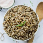 white bowl of instant pot wild rice