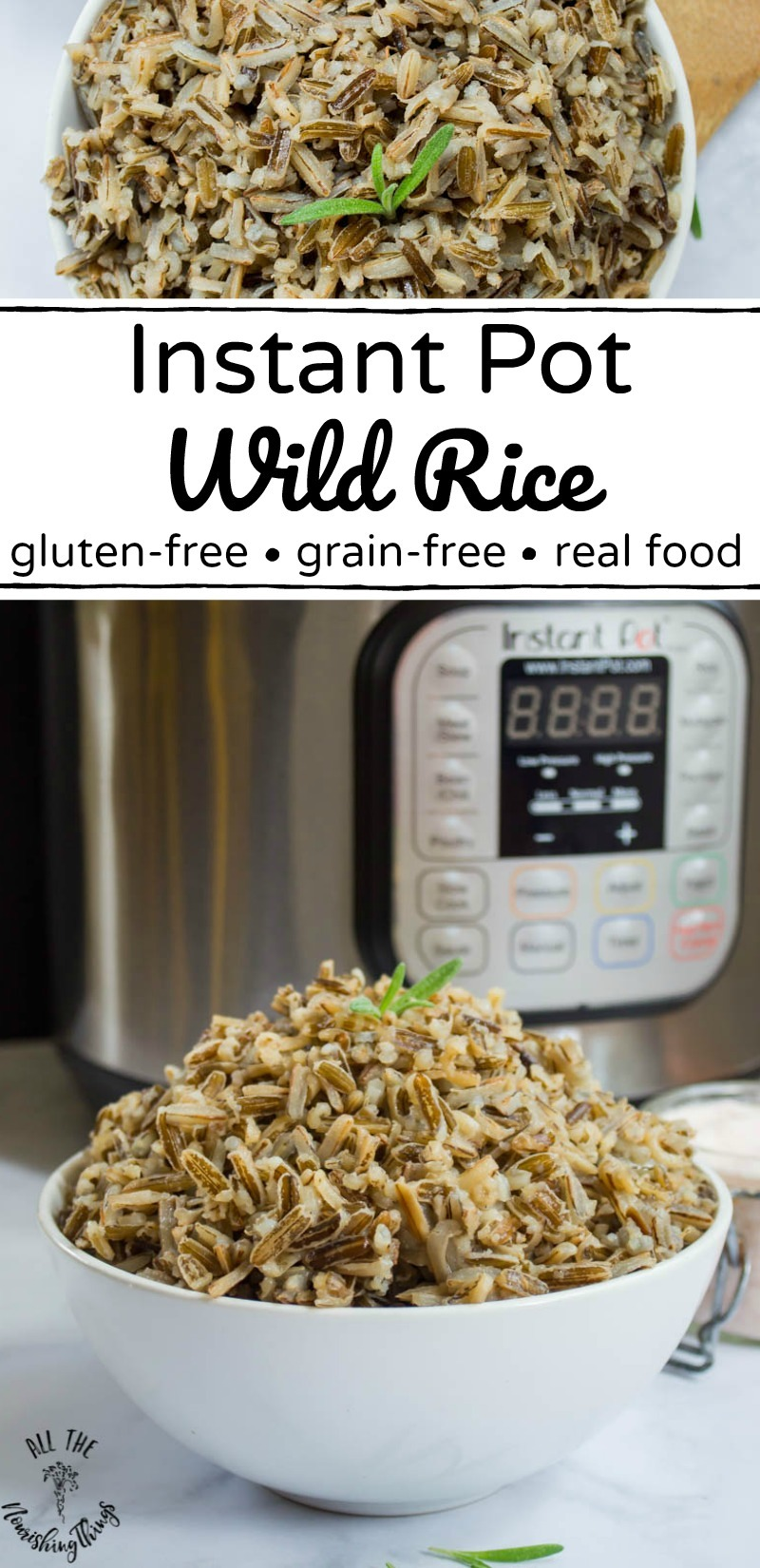 instant pot wild rice with text overlay