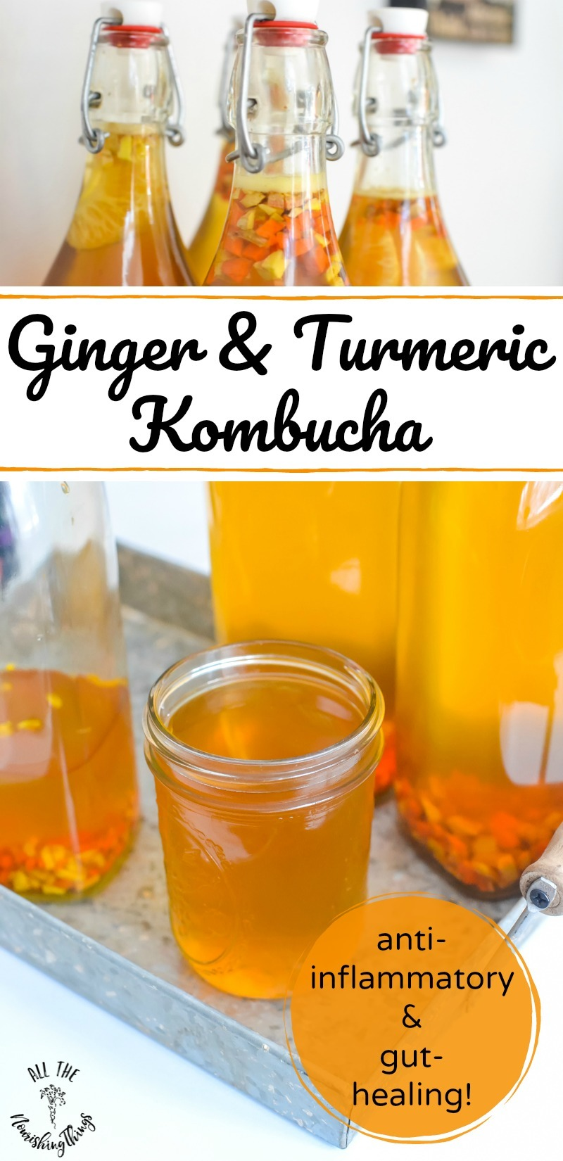 collage of 2 images of ginger and turmeric kombucha with text overlay