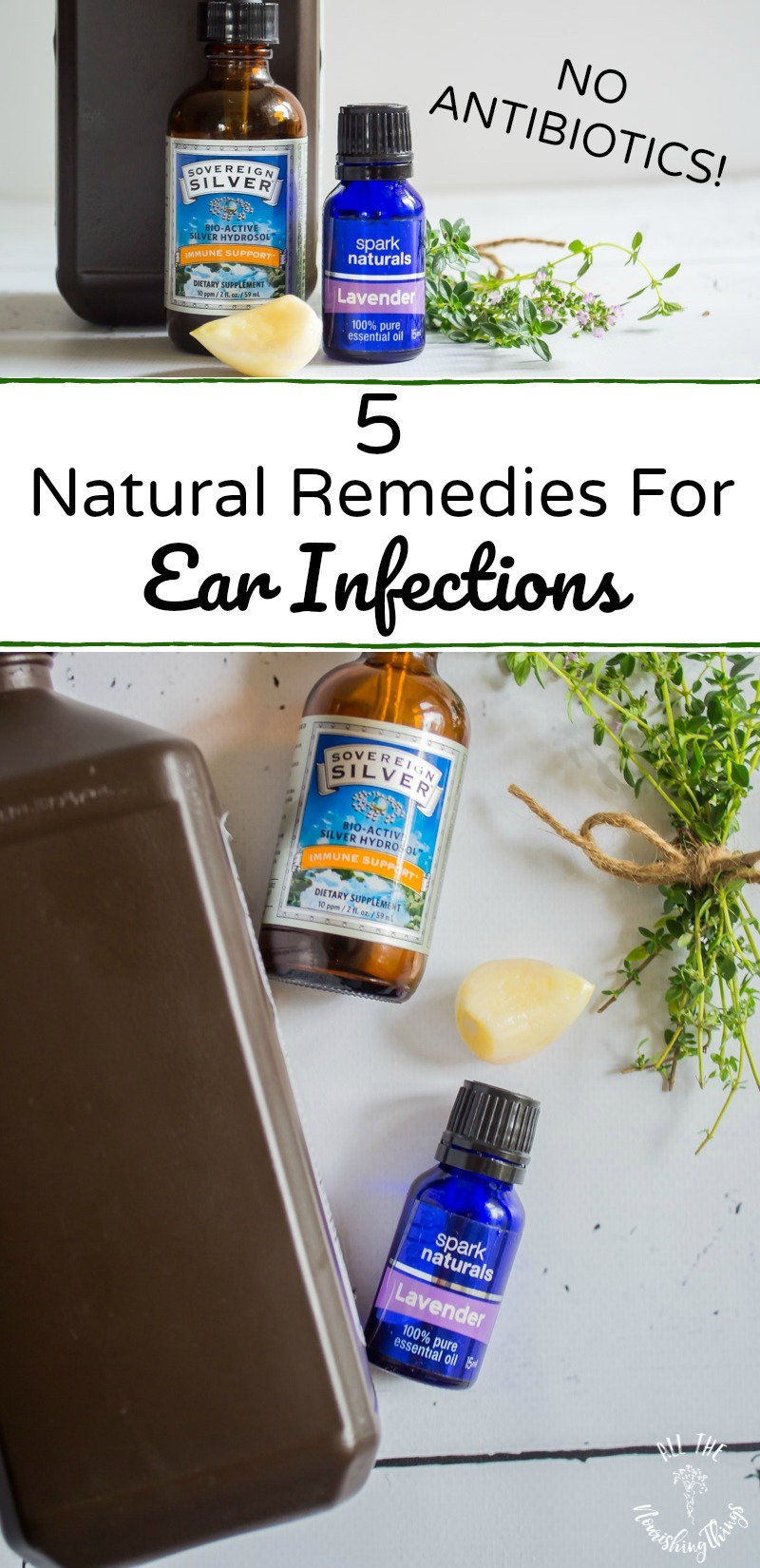 natural remedies for ear infections no antibiotics with text overlay