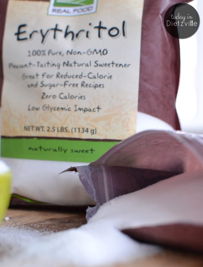 open bag of erythritol