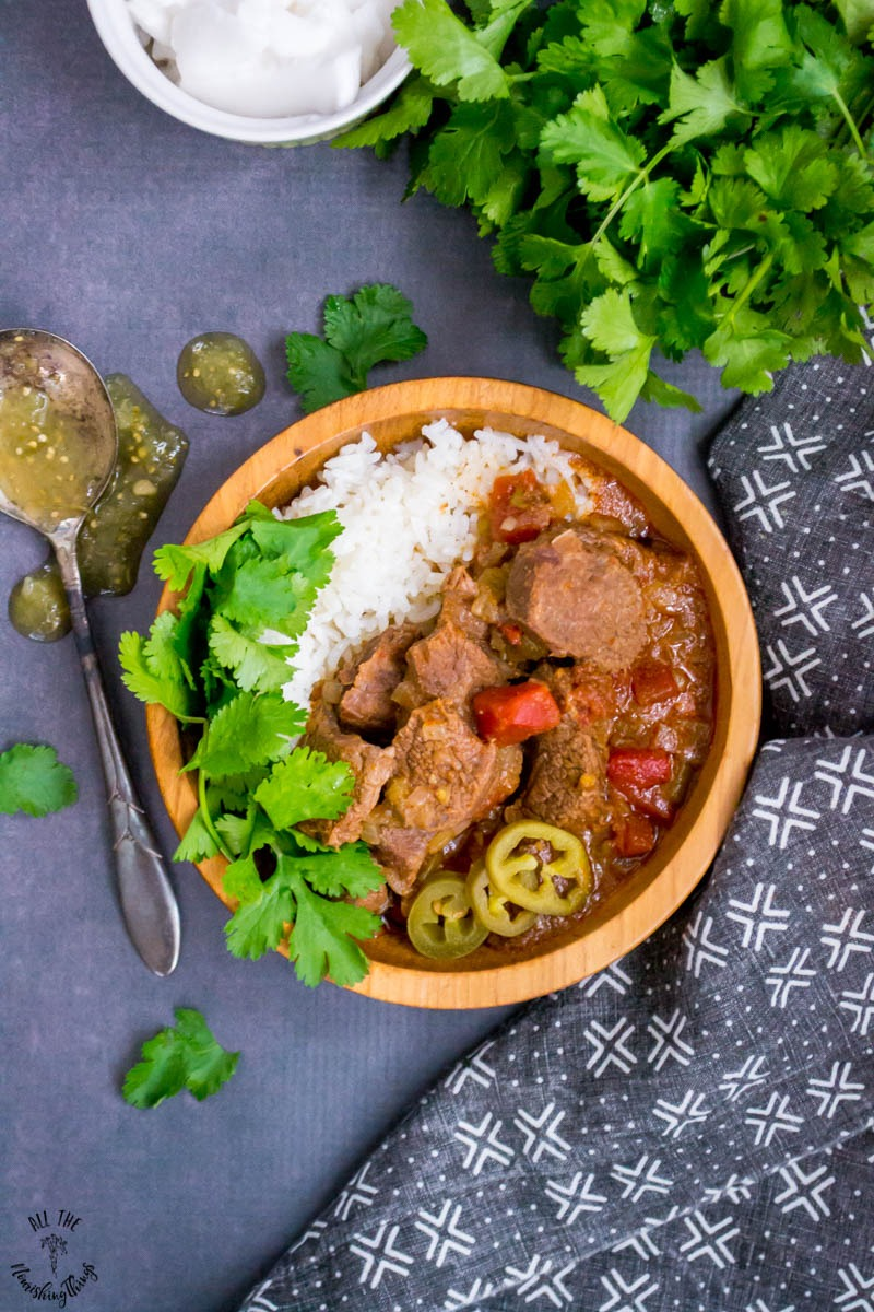wooden bowl of mexican instant pot beef stew