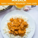 paleo instant pot chicken tikka masala with orange text overlay