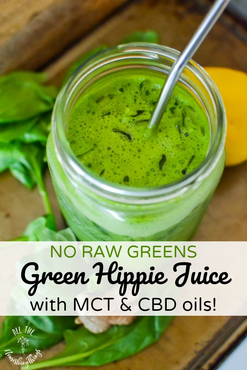 no raw greens green hippie juice with metal straw and text overlay