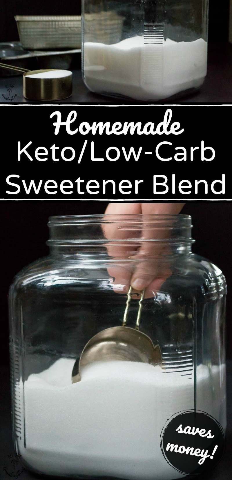 collage of 2 images of homemade keto sweetener blend with text overlay
