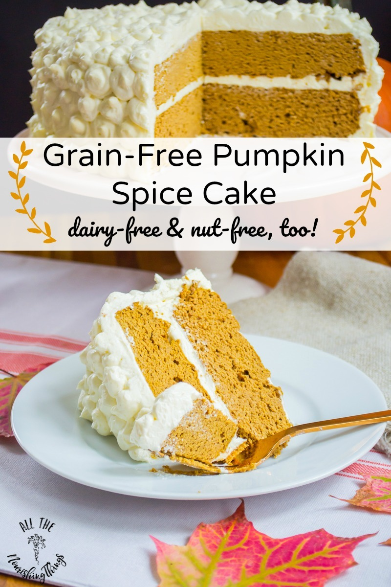 grain-free pumpkin spice cake with text overlay