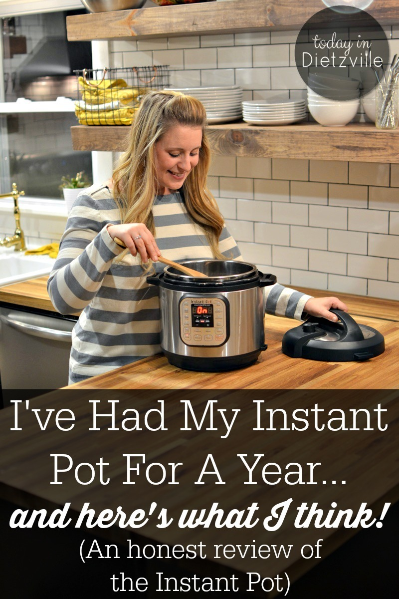 woman stirring in an Instant Pot standing in her kitchen with text overlay