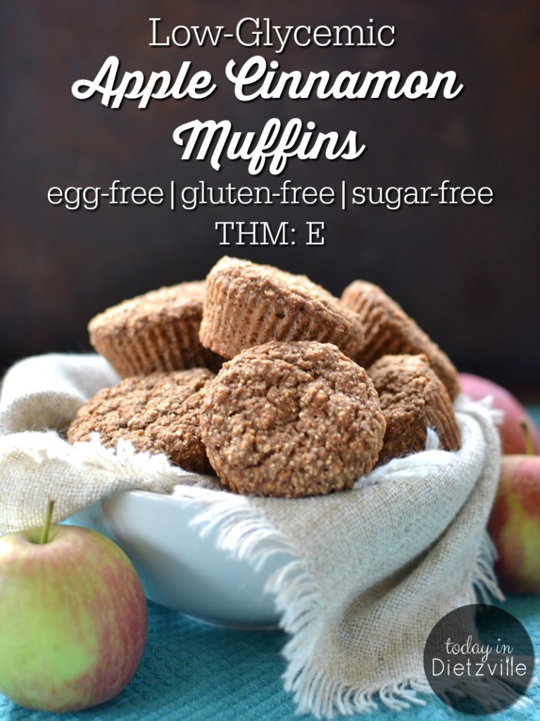 Low-Glycemic Apple Cinnamon Muffins {egg-free, gluten-free, sugar-free, dairy-free option}