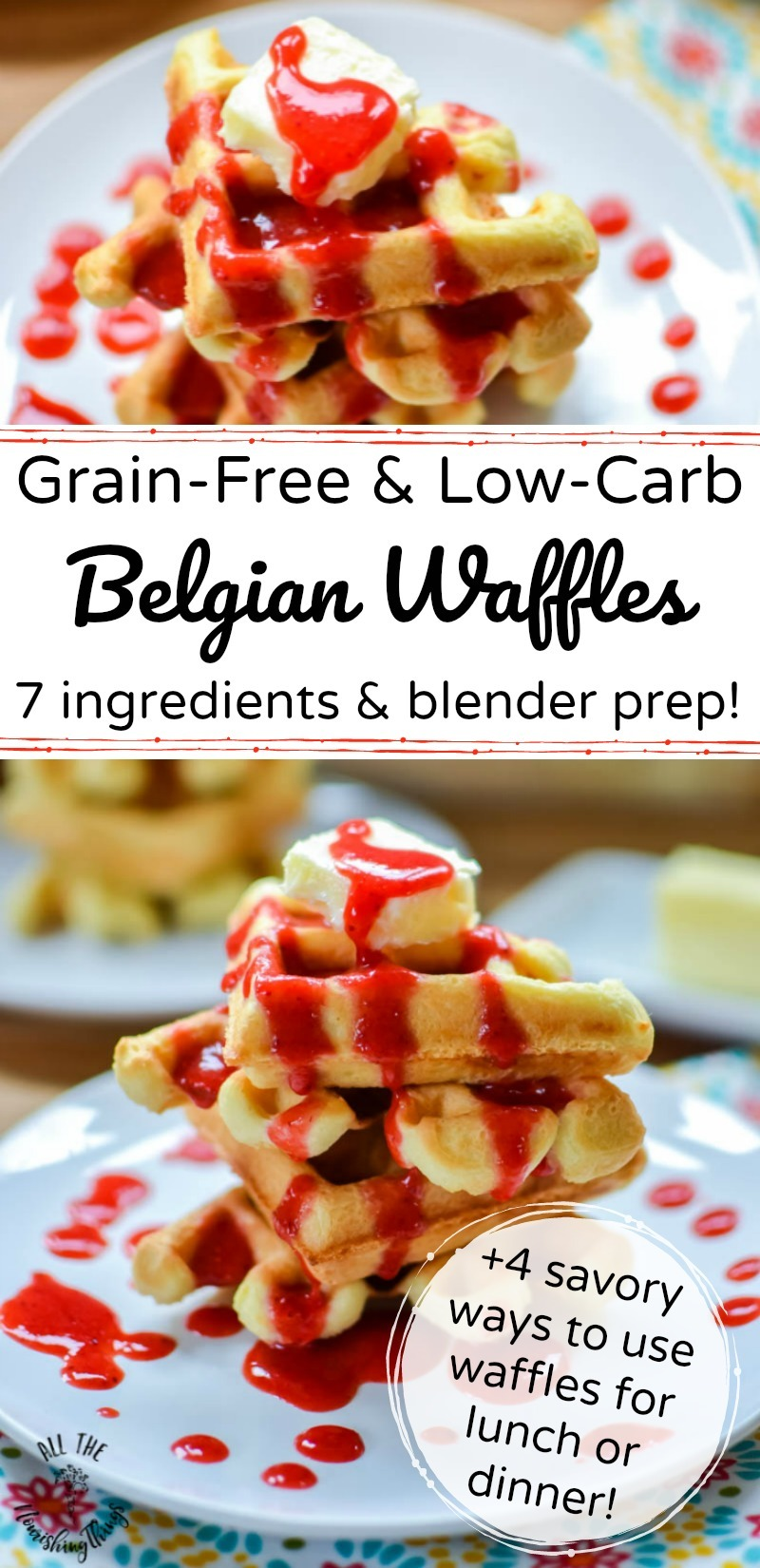 grain-free and low-carb belgian waffles with text overlay