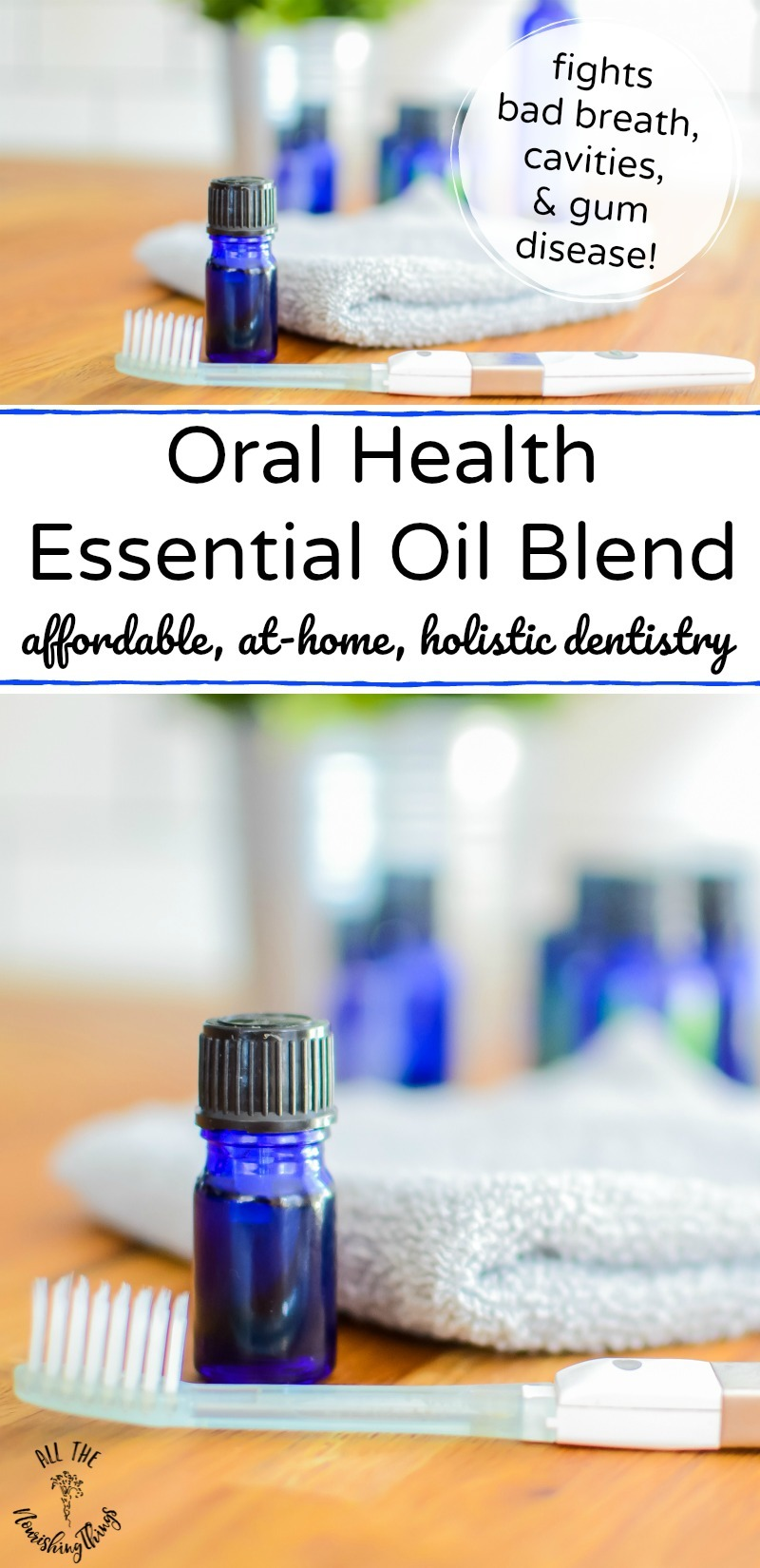 blue bottle of oral health essential oil blend with text overlay