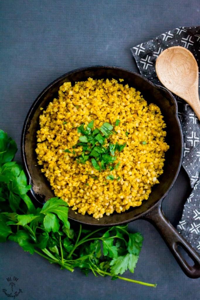 Whole30 Turmeric Cauliflower Rice (keto, paleo, vegan)