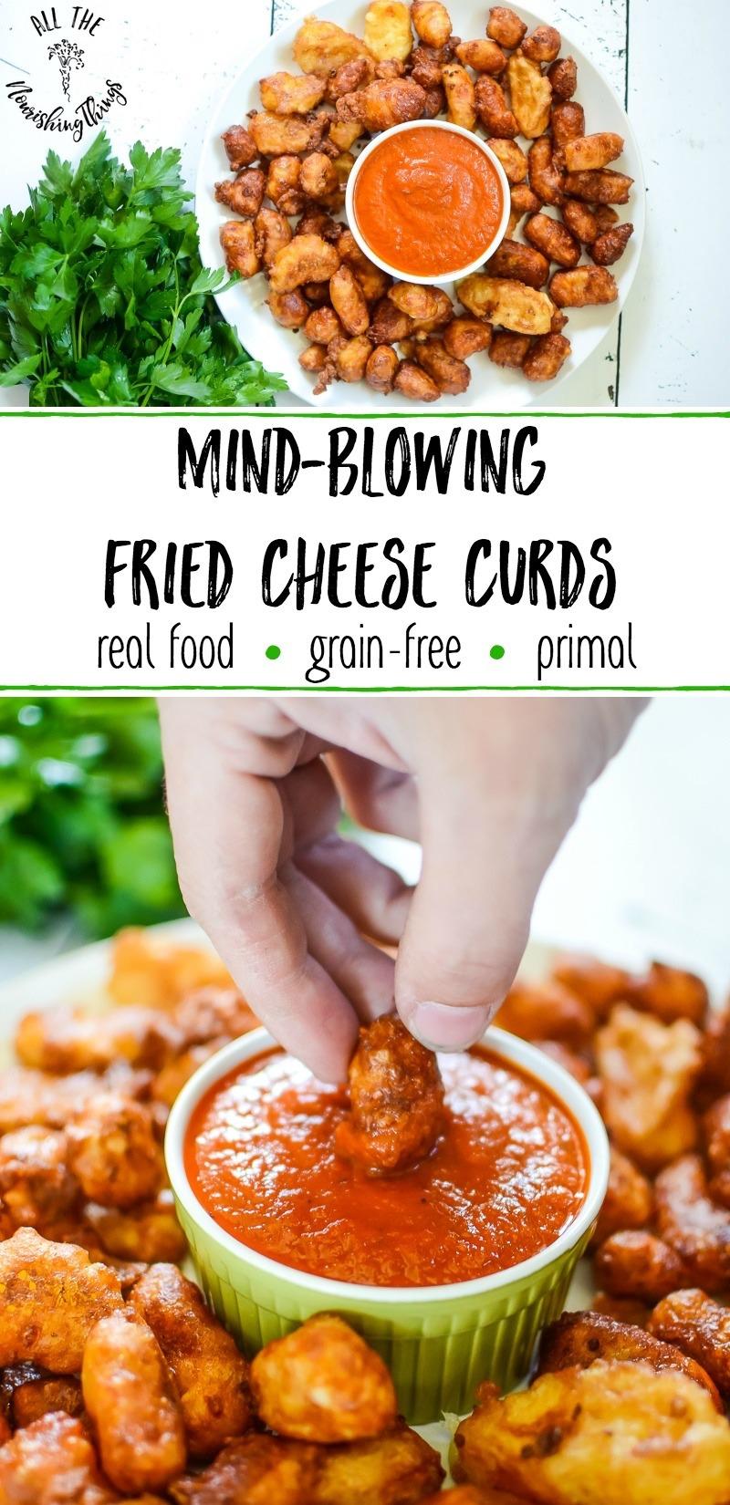 white plate of fried cheese curds with green ramekin of marinara sauce