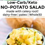 collage of 2 images of classic keto potato salad with text overlay between the images