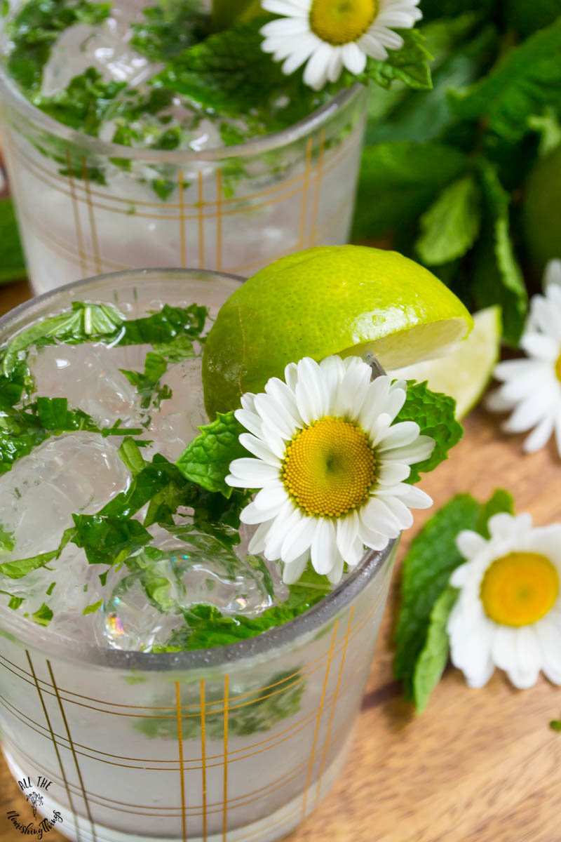 closeup of low-carb mojito garnished with fresh lime and daisies