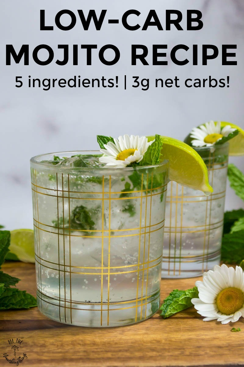 low-carb mojitos garnished with fresh mint and lime wedges with text overlay