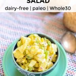 low-carb classic no-potato salad in a blue bowl with text overlay