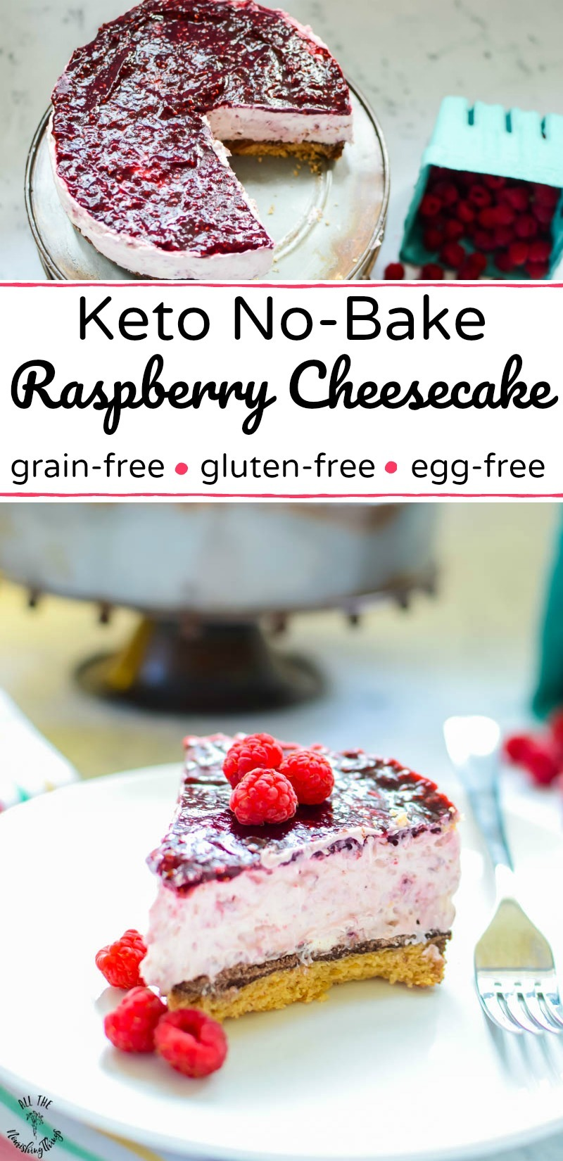 collage of 2 images of keto no-bake raspberry cheesecake with text overlay